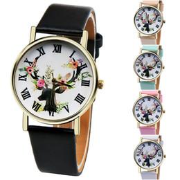 Acheter en ligne Hommes robe gros de montre-Vente en gros Hot Sale Deer Watch Arrow GENEVA Montre bracelet en cuir No Logo Homme Femme Montres habillées à la mode