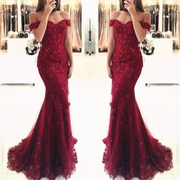 New Burgundy Mermaid Prom Dresses Sequined Beaded Floor Length Backless Off Shoulder Lace Evening Party Gowns Custom Made