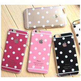 Polka Dot TPU Housse Pour iPhone 5 5S 6 Plus Bling Poudre Soft Transparent Cadre Peau Peau Peau DHL Vente en gros à partir de pare-chocs 5s transparent fournisseurs