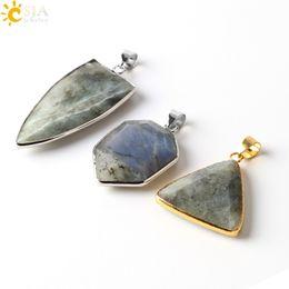 CSJA Natural Spectrolite Labradorite Stone Jewelry Charms Suspension Necklace  Pendant Men Women Jewellery Gold Platinum Plated Copper E388 A e02668b37a6c