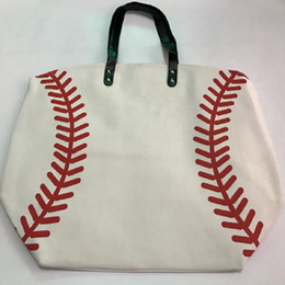 Sac en toile blanche en Ligne-Sac de shopping noir jaune softball baseball blanc Bijoux Emballage Blanks Enfants Coton Canvas Sports Baseball Softball Tote Bag
