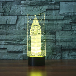 Wholesale Big Ben D Desk Lamp Gift Acrylic Night light LED lighting Furniture Decorative colorful color change household Home Accessories
