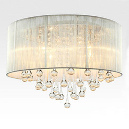 Modern Drum Pendant Light Fabric Shade Rain Drop Crystal Chandeliers 6 Lights E14 E12 Bulb Crystal Lamp Light Fixture D.45cm