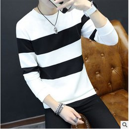 Wholesale Leopard Head Sweater - Spring and autumn men's sweater collar sleeve head type male striped shirt s casual youth new shirt