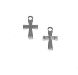 1000pcs Silver Tone Stainless Steel Small Crucifix Cross Charm Pendants Connectors DIY Jewelry Findings For Jewelry Making 12mm*7mm