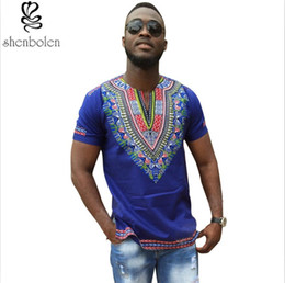 Mans Plus Size African Print V Neck Bright Tribal Pattern Hipster Hip Hop Top T-shirt Dashiki