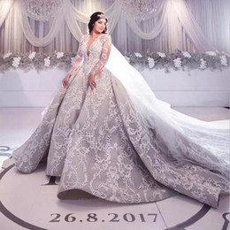 2019 Luxury Silver Lace Long Sleeve Wedding Dresses Dubai Arabic Deep V Neck Embroidery Puffy Cathedral Train Bridal Gowns Plus Size EN9261