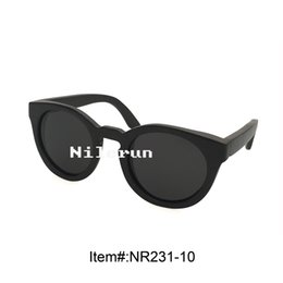 hot sale round black bamboo eyewear sunglasses