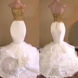 Gold and White Prom Dresses Spaghetti Straps Beaded Sequins Lace Appliques Prom Dresses Mermaid Trumpet Evenig Gown Full Length Ruffles