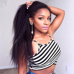 Italian Yaki Brazilian Kinky Straight Glueless Full Lace Wigs Lace Front Wig Color #1B Coarse Yaki Virgin Human Hair Wigs For Black Women