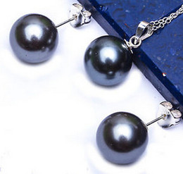 Pearl Jewelry Sets Genuine black Pearls Pendant Necklace Earrings SET Silver