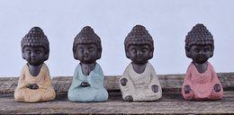 Wholesale Small Buddha Statue Monk Figurine India Mandala Tea Ceramic Crafts Home Decorative Ornaments Miniatures