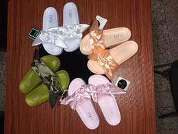Wholesale Leadcat Fenty Rihanna Shoes slippers for women With Original Box Dust bag Fashion ladies summer bowtie Slide Sandals flip flops