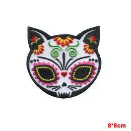 CAT SUGAR SKULL Gato Muerto IRON-ON PATCH day of the dead   dia de los muertos
