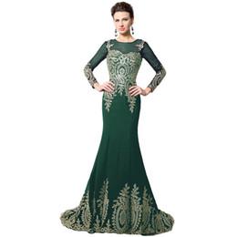 Novias musulmanes vestidos simples en Línea-207 Vestidos de noche musulmanes de oro de alta calidad de largo Appliques madre de la sirena de la novia Vestido formal africano Kaftan XU040