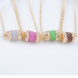Wholesale Fashion Stone Resin Druzy Drum shape Pendant Necklace Gold Zinc Alloy Chain Women Party Jewelry Gift