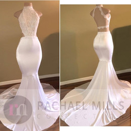 Halter High Neck White Prom Dresses 2017 New Design Vintage Lace Top Mermaid Evening Party Gowns Backless Robe de Soiree Custom BA5189