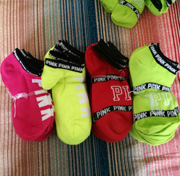 Wholesale 2017 Ankle VS Pink Victoria calcetines Calcetines Mujer Football Cheerleaders Medias Victoria Short Sports Medias Ankle LOVE Pink patín calcetín