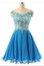 Wholesale Buy Custom Beautiful Blue Chiffon Short Handmade Prom Dress With Lace Applique Homecoming Dresses