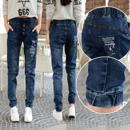 Spring new school students jeans female 15 to 17 14-16 years old girl han edition loose big boy pants