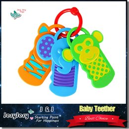 Wholesale Cartoon Monkey Elephant Bear Baby Teether Cute Hanging Toy Educational Safety Care Teether Click Clack Keys Color Perception