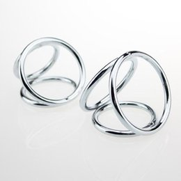 High quality male stainless steel metal penis cock ring 3 rings together design, 2 items for choose