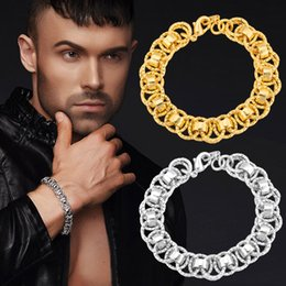 Classic 18K Stamp Men Bracelet High Quality 13MM 21CM 18K Real Gold Plated Link Chain Bracelet