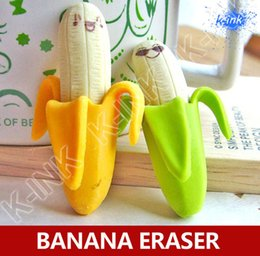 Enfants mignons effaceurs à vendre-Vente en gros- Cute gomme kawaii banane, dessin animé gomme de caoutchouc de banane des fruits pour les enfants, bananes vives, ne mangent pas!