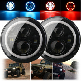 7 Inch 45 60W Hi-Lo Beam LED Headlight Head Light Lamps H4 - H13 Red Blue Full Halo Angel Eyes For Jeep Wrangler JK TJ LJ 97-15