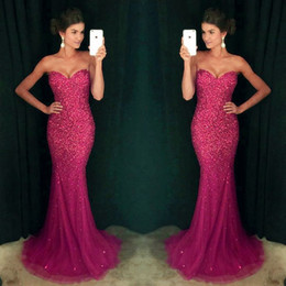 Sparkly Fuchsia Crystals Sequins Mermaid Long Prom Dresses 2017 Sweetheart Long Floor Length Mermaid Prom Party Dress