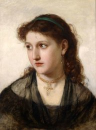 Acheter en ligne Beaux colliers-Encadrée belle jeune fille avec beau collier en robe noire, portrait peint à la main Art Peinture à l'huile sur toile, Multi taille disponible P0025