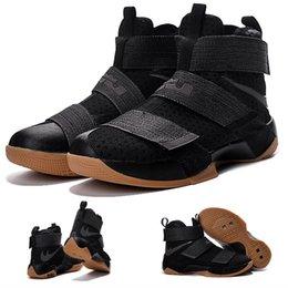 (Avec chaussures Box) NOUVEAU James LeBron Zoom Soldat 10 X Gomme noire 844378-009 CAVS FINAL Jeu 7 SFG Champions Hommes chaussures taille 7-12 à partir de soldats lebron noir fournisseurs