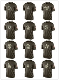 Canada 2017 Hommes Mlb Tous les T-shirts d'équipe T-shirts de baseball bon marché Imprimé Big Tall Banner Logos Green Salute To Service Platinum Collection T-shirts cheap team services Offre