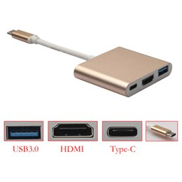 Wholesale 2016 NEW HOT SALE Type C Male to USB3 HDMI Type C Female Charger Adapter IN converter for Macbook