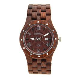 Cajas de madera relojes en venta-BEWELL Reloj de madera para hombre Reloj de madera de la fecha automática Reloj de cuarzo para hombre Relojes de lujo de la marca de fábrica Reloj de los hombres con la caja de papel 109A