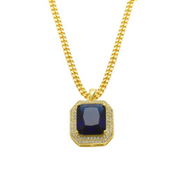 HipHop Mens 14k Gold Plated Iced Out Red Ruby Octagon Necklace Pendant with 3mm Chain Men Women Red Black Ruby Necklace