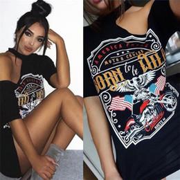 Acheter en ligne Mini-roches-2017 Casual Women Vintage Rock Style L'aigle de moto imprimé accroche-t-shirt à manches longues T-shirt ONY002