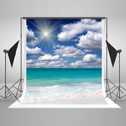 2017 fondos de verano 5x7ft (150x220cm) Fotografía de verano Backdrops Fondo de playa de nubes blancas para fondos de fotografía de boda barato fondos de verano