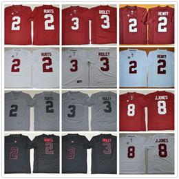 Wholesale College Alabama Crimson Tide Football Jerseys Jalen Hurts Ridley Blackout Gridiron Gray Red White Julio Jones Derrick Henry Jersey