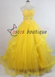 Wholesale 2017 Newest movie Beauty and the Beast belle dress women princess Belle costume cosplay yellow wedding dress ball gown