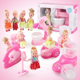 Wholesale Mini Simulation vacuum cleaner electric small house appliances with barbie toys for kid lovely classic toy the best gift for children