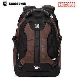 Vente en gros - Swisswin Fashion Sac à dos quotidien pour homme Swissgear Collège Sac à dos en nylon Sac de qualité pour ordinateur portable SN9071 Brown Blue Sac à partir de hommes bruns sacs à dos fabricateur