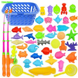 Wholesale set Plastic Magnetic Fishing Toys Set Game Poles Nets ket Magnet Fish Indoor Outdoor Fun years Baby
