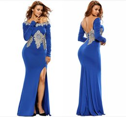 Charmingmiss Royal Blue Elastic Mermaid Prom Dresses with Appliques 2017 Long Sleeves Backless Split Front Long Evening Gowns