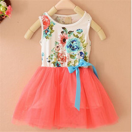 Promotion robes en tulle sans manches DHL Summer Girl Girl Robes Floral Girls Baby Tutu Robe Fleur Enfants Vêtements Filles Gaze Coton Ruffle Princess Lace Tulle Dress