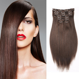 "Grade 8A Clip In Human Hair Extensions Straight 7pcs set 100% non-remy African American #4 Dark Brown Peruvian Hair 16""-20"" Free Shipping"
