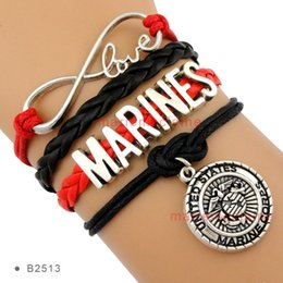 Wholesale Pieces High Quality Infinity Love Marines Bracelet Marine Corps Charm Bracelet Red Black Leather Custom Any Themes Drop Shipping