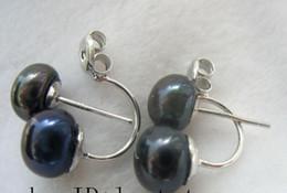 black freshwater pearl black 6-8mm silver platedstud earring nature wholesale