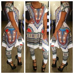 Племенные печатные издания Онлайн-2017 Высококачественная женская традиционная одежда Комплект Vintage African Tribal Print Эластичная оболочка Длинные брюки и брюки 2 шт Женские наборы