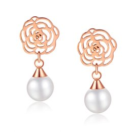 Wholesale New products listed fashion Stainless steel camellia pearl pendants women earrings